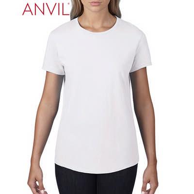 Anvil Womens Black Tee White